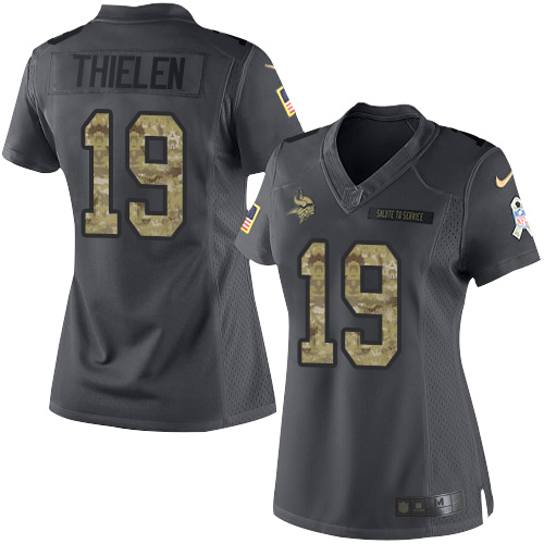 Nike Vikings #19 Adam Thielen Black Women's Stitched NFL Limited 2016 Salute To Service Jersey
