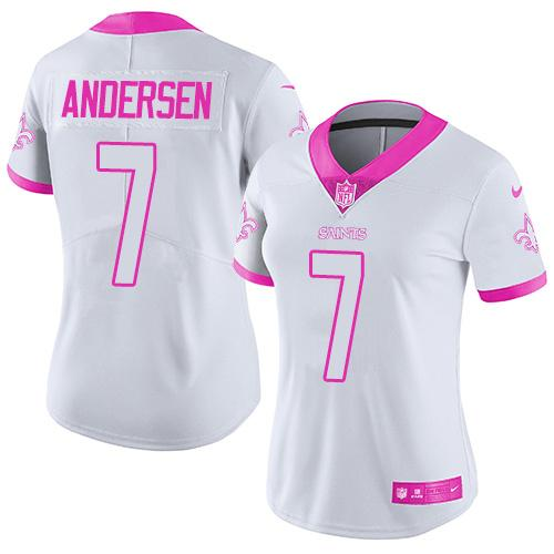 Nike Saints #7 Morten Andersen White/Pink Women's Stitched NFL Limited Rush Fashion Jersey