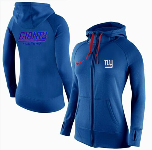 Women's Nike New York Giants Full-Zip Performance Hoodie Blue
