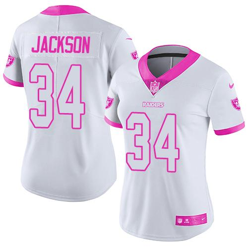 Nike Raiders #34 Bo Jackson White/Pink Women's Stitched NFL Limited Rush Fashion Jersey