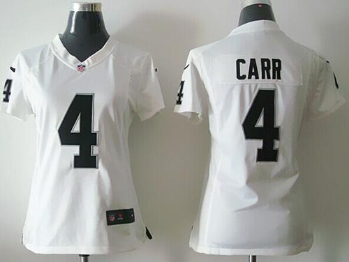 Nike Raiders #4 Derek Carr White Women's Stitched NFL Elite Jersey