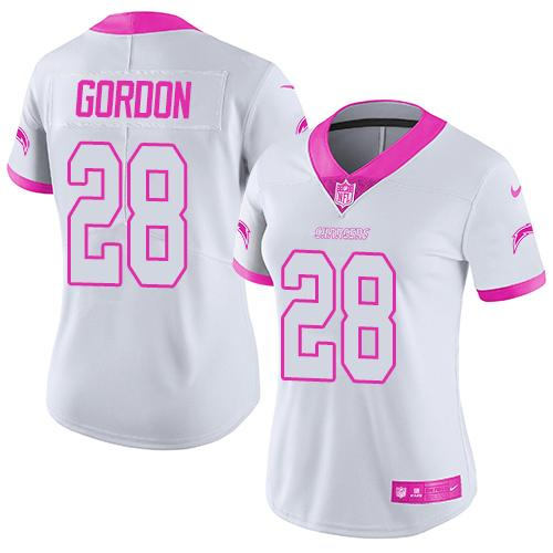 Nike Chargers #28 Melvin Gordon White/Pink Women's Stitched NFL Limited Rush Fashion Jersey