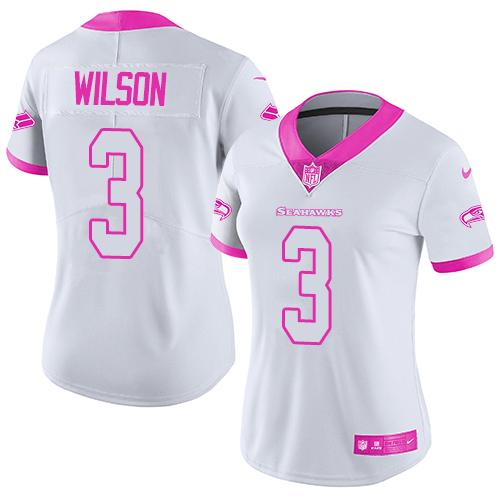 Nike Seahawks #3 Russell Wilson White/Pink Women's Stitched NFL Limited Rush Fashion Jersey