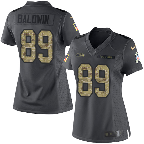 Nike Seahawks #89 Doug Baldwin Black Women's Stitched NFL Limited 2016 Salute to Service Jersey