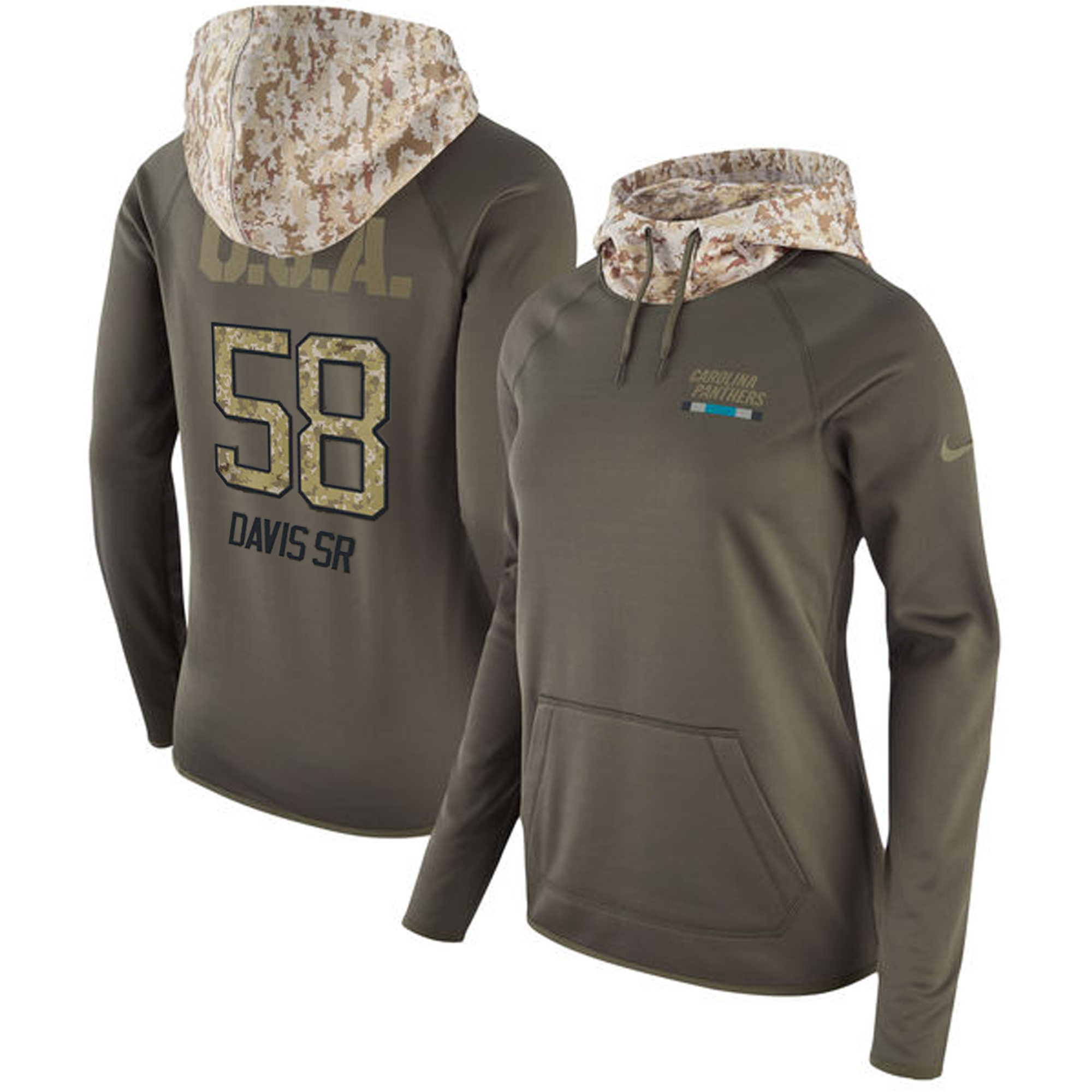 Women's Carolina Panthers #58 Thomas Davis Olive Salute to Service Sideline Therma Pullover Hoodie