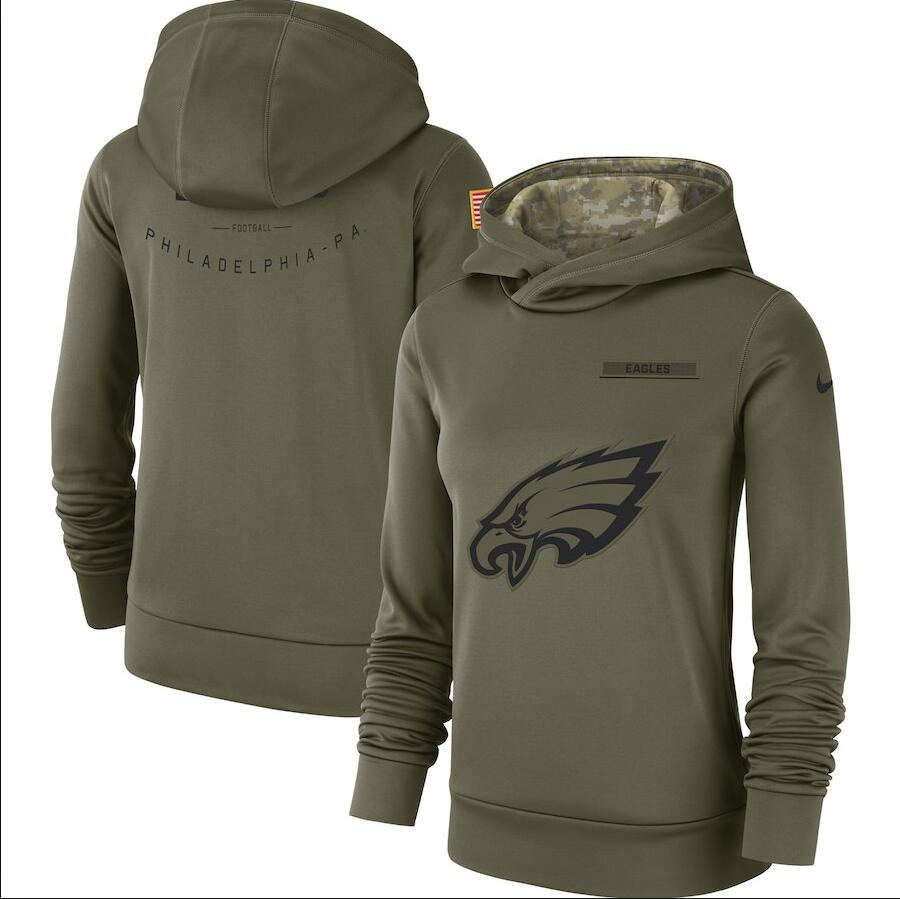 Women's Philadelphia Eagles Olive Salute to Service Team Logo Performance Pullover NFL Hoodie