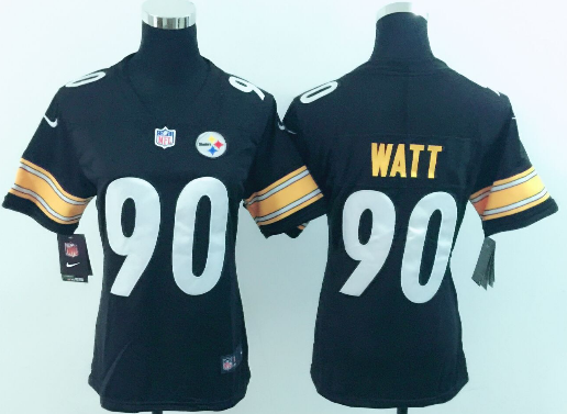 Women's Nike Pittsburgh Steelers #90 T. J. Watt Black Vapor Untouchable Limited Stitched NFL Jersey