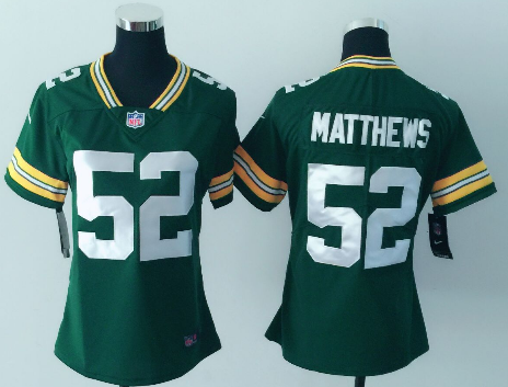 Women's Nike Green Bay Packers #52 Clay Matthews Green Vapor Untouchable Limited Stitched NFL Jersey