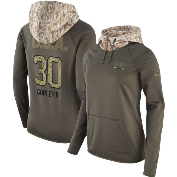 Women's Los Angeles Rams #30 Todd Gurley Olive Salute to Service Sideline Therma Pullover Hoodie