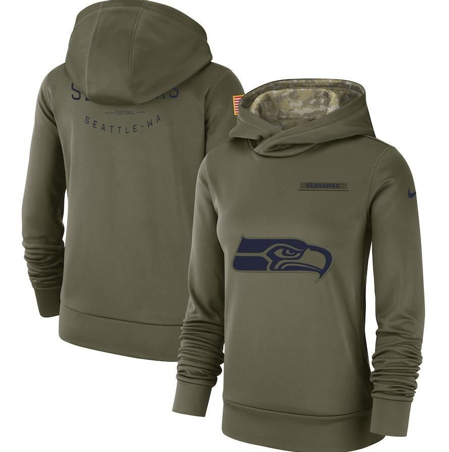 Women's Seattle Seahawks Olive Salute to Service Team Logo Performance Pullover NFL Hoodie