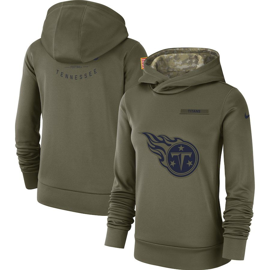 Women's Tennessee Titans Olive Salute to Service Team Logo Performance Pullover NFL Hoodie