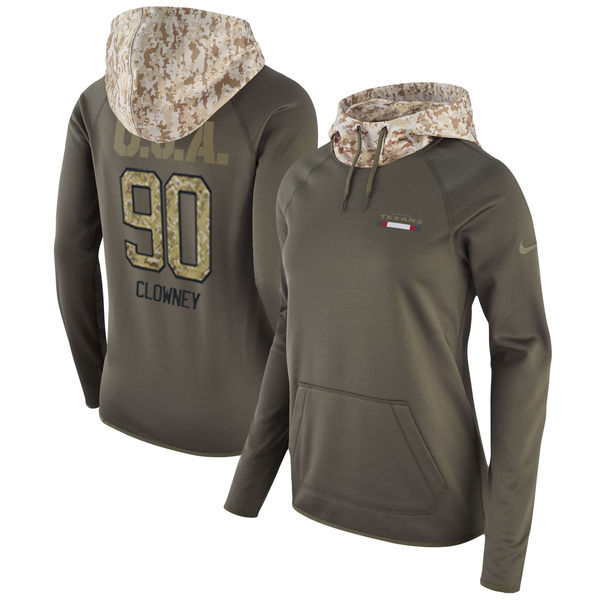 Women's Houston Texans #90 Jadeveon Clowney Olive Salute to Service Sideline Therma Pullover Hoodie