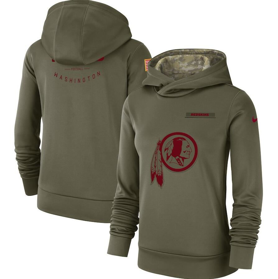 Women's Washington Redskins Olive Salute to Service Team Logo Performance Pullover NFL Hoodie