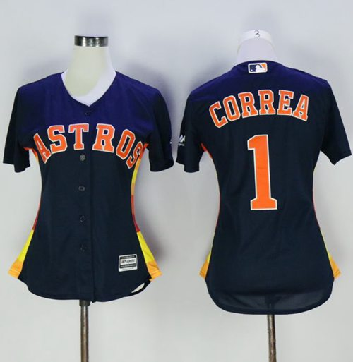 Astros #1 Carlos Correa Navy Blue Women's Alternate Stitched MLB Jersey