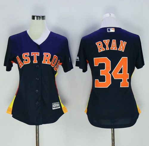 Astros #34 Nolan Ryan Navy Blue Women's Alternate Stitched MLB Jersey