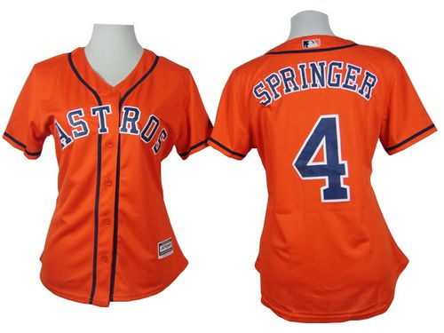Astros #4 George Springer Orange Alternate Women's Stitched MLB Jersey
