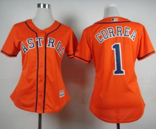 Astros #1 Carlos Correa Orange Alternate Women's Stitched MLB Jersey