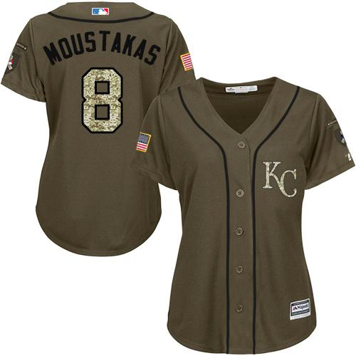 Royals #8 Mike Moustakas Green Salute to Service Women's Stitched MLB Jersey
