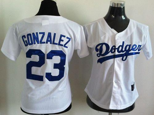 Dodgers #23 Adrian Gonzalez White Women's Fashion Stitched MLB Jersey