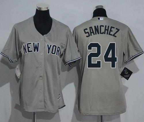 Majestic New York Yankees MLB Men/'s Road Jersey Sanchez 24 New Grey