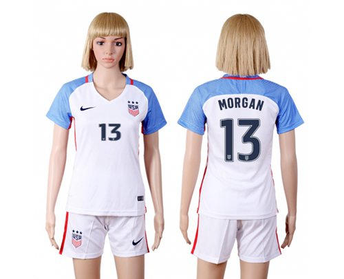Women's USA #13 Morgan Home(Three Star) Soccer Country Jersey