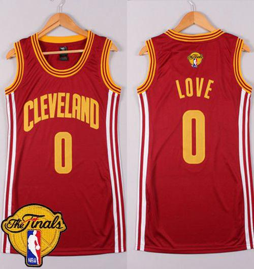 Cavaliers #0 Kevin Love Red The Finals Patch Women's Dress Stitched NBA Jersey