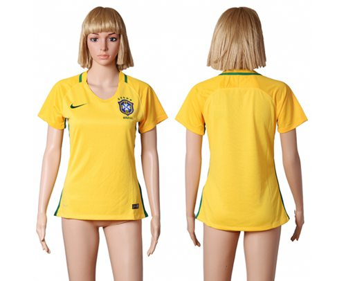 Women's Brazil Blank Home Soccer Country Jersey