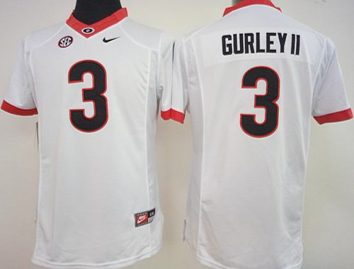 Bulldogs #3 Todd Gurley II White Women's Stitched NCAA Jersey