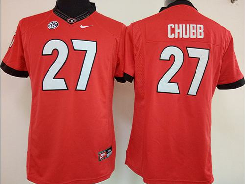 Bulldogs #27 Nick Chubb Red Women's Stitched NCAA Jersey