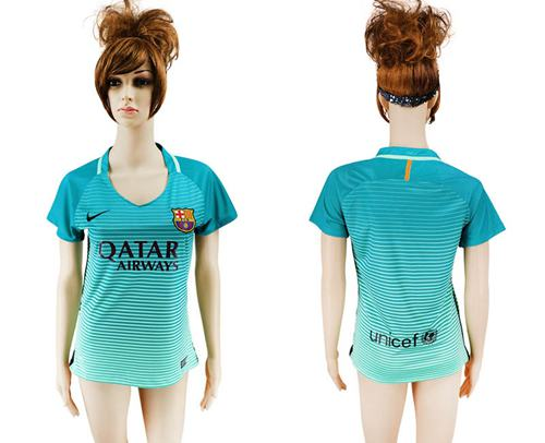 Women's Barcelona Blank Sec Away Soccer Club Jersey