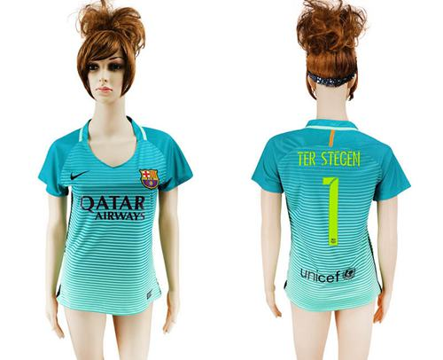 Women's Barcelona #1 Ter Stegen Sec Away Soccer Club Jersey