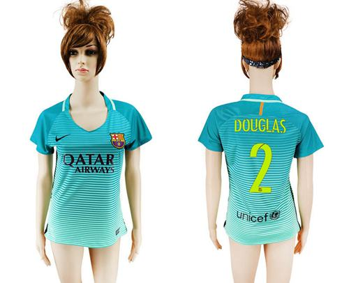 Women's Barcelona #2 Douglas Sec Away Soccer Club Jersey
