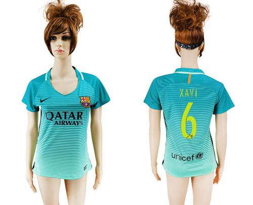 Women's Barcelona #6 Xavi Sec Away Soccer Club Jersey