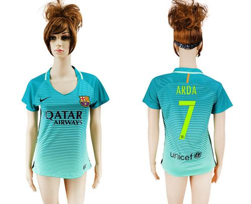 Women's Barcelona #7 Arda Sec Away Soccer Club Jersey