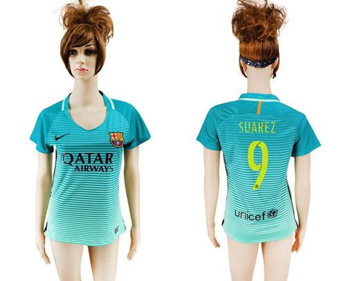 Women's Barcelona #9 Suarez Sec Away Soccer Club Jersey