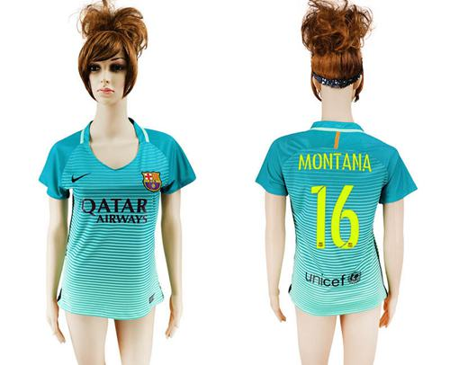 Women's Barcelona #16 Montana Sec Away Soccer Club Jersey