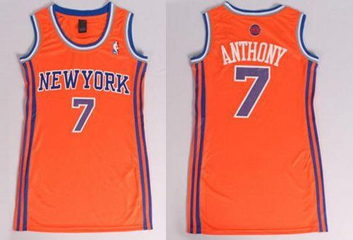 Knicks #7 Carmelo Anthony Orange Women's Dress Stitched NBA Jersey