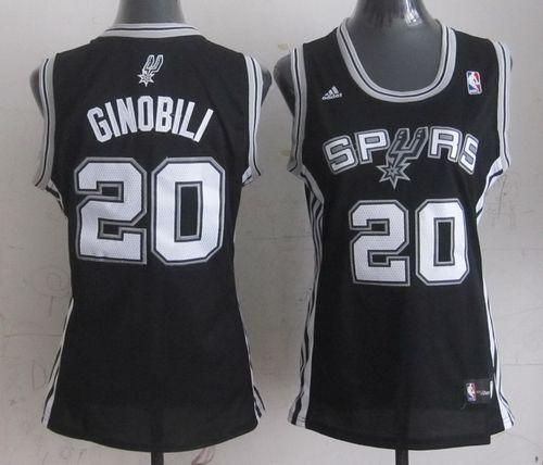 Spurs #20 Manu Ginobili Black Women's Road Stitched NBA Jersey