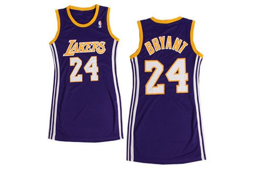 Lakers #24 Kobe Bryant Purple Women's Dress Stitched NBA Jersey