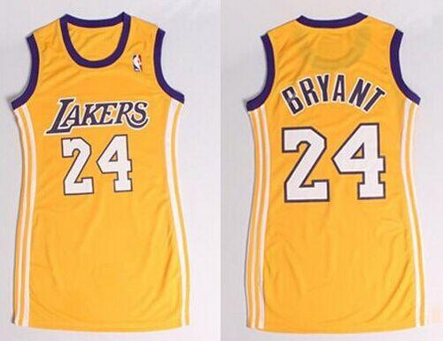 Lakers #24 Kobe Bryant Gold Women's Dress Stitched NBA Jersey