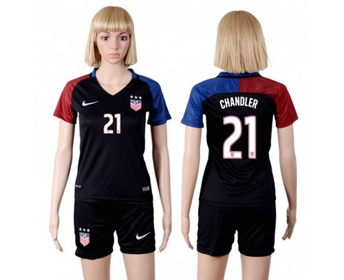 Women's USA #21 Chandler Away(Three Star) Soccer Country Jersey