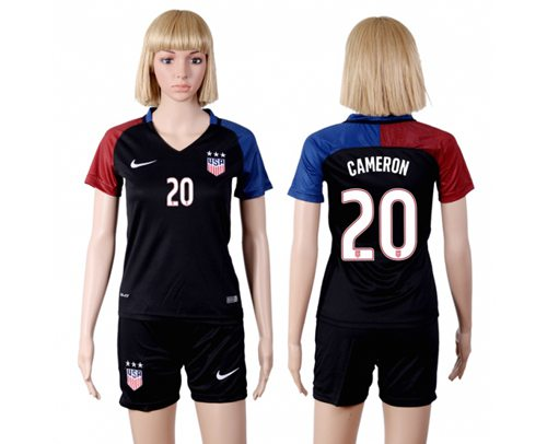 Women's USA #20 Cameron Away(Three Star) Soccer Country Jersey