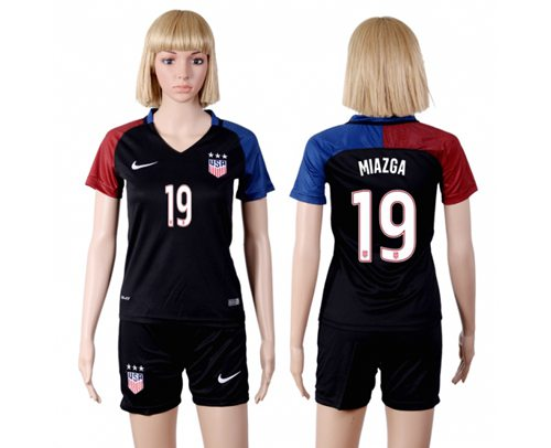 Women's USA #19 Miazga Away(Three Star) Soccer Country Jersey