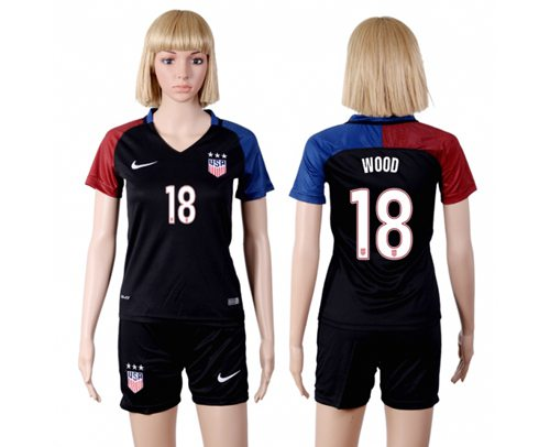 Women's USA #18 Wood Away(Three Star) Soccer Country Jersey