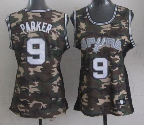Spurs #9 Tony Parker Camo Women's Stealth Collection Stitched NBA Jersey