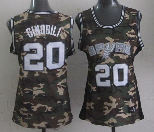 Spurs #20 Manu Ginobili Camo Women's Stealth Collection Stitched NBA Jersey