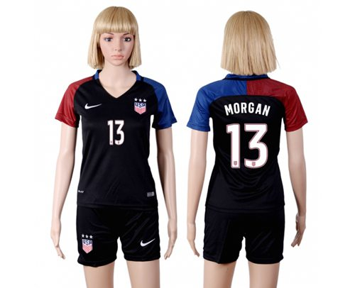 Women's USA #13 Morgan Away(Three Star) Soccer Country Jersey