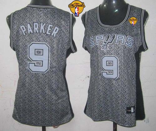 Spurs #9 Tony Parker Grey With Finals Patch Women's Static Fashion Stitched NBA Jersey