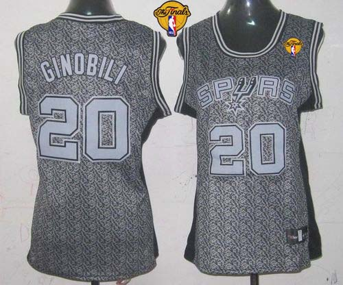 Spurs #20 Manu Ginobili Grey With Finals Patch Women's Static Fashion Stitched NBA Jersey