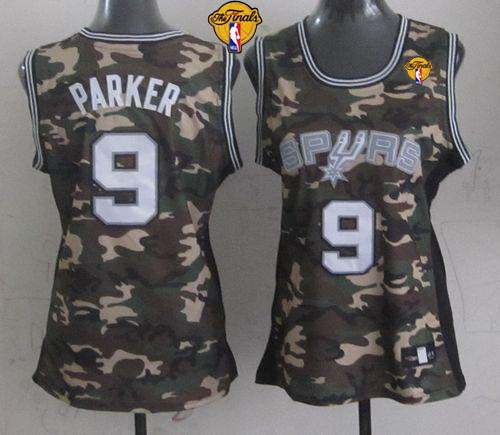 Spurs #9 Tony Parker Camo With Finals Patch Women's Stealth Collection Stitched NBA Jersey